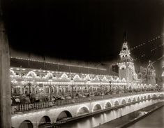"""""""Luna Park at night."""" Third in a series of Detroit Publishing glass negatives showing the Coney Island attraction at night circa 1905."""