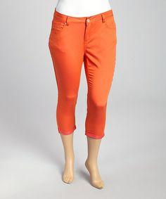 1a66b283967 Eighty Eight Jeans Guava Orange   Pink Pulse Capri Pants - Plus
