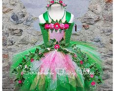 Girls Woodland Fairy Tutu Dress Costume Ivy /& Flowers Christmas or Birthday Party Outfit.Optional Feather Wings Lined Forest Headband.