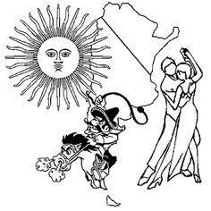Le dessin illustre un pays d'Amérique du Sud l'Argentine. L'Argentine est représentée par son soleil, un couple de danseur de tango et un gaucho (gardien de troupeau). Colorie la robe de la danseuse en rouge, le danseur est vêtu de noir. Le gaucho manie le fouet, ses gants, ses chaussures sont marron, sa chemise et son chapeau sont jaune clair. Le cheval est beige. Le soleil argentin est ocre jaune et la carte du pays est coloriée en bleu ciel et blanc.