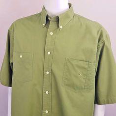 c5b74932bd8 Columbia Men Short Sleeve Button Down Green Sz XL Collared Textured Cotton  Shirt