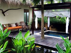 Canopy over hot tub Outside Living, Outdoor Living Areas, Outdoor Rooms, Balinese Garden, Bali Garden, Tropical Houses, Tropical Gardens, Bali Style Home, Yoga Studio Decor