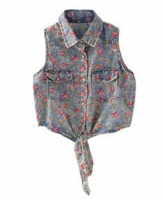 Sleeveless Denim Vest with Flower Print and Tie Hem