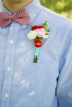 Coke cap boutonniere @weddingchicks