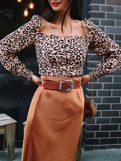 836550f918c963 New Brown Leopard Print Pleated Single Breasted Backless Long Sleeve Fashion  Vintage Cardigan Blouse
