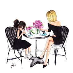 & Daughter Brunch (Fashion Illustration Print) (Fashion Illustration Art - Fashion Sketch prints - Home Decor - Wall Decor ) Mother & Daughter Brunch Fashion Illustration Print FashionSketch Sketch or sketches may refer to: Mother And Daughter Drawing, Mom Daughter, Mother And Child, Daughters, Art And Illustration, Baby Girl Drawing, Poster Photo, Arte Fashion, Jamel