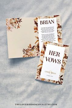 """Grab these vow book templates perfect for your fall wedding. Save 20% with the code """"PIN20"""" Baby Shower Items, Vow Book, Wedding Ceremony Decorations, All Fonts, Autumn Wedding, Wedding Vows, Favor Tags, Stationery, Invitations"""