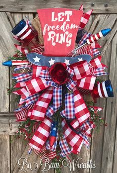 Patriotic Wreath - Patriotic Swag - Summer Wreath - Front Door Wreaths Let Freedom Ring! ❤️ Make your door even more inviting with this beautiful patriotic wreath in gorgeous red, blue and burlap. Flawlessly handmade on a pine swag base and meticulously designed with a coordinated