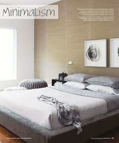 grasscloth + shades of white and grey in minimal modern bedroom via style at home