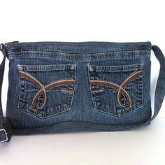 Recycelte Crossbody Tasche kleine Jeansblau Seite von Sisoibags