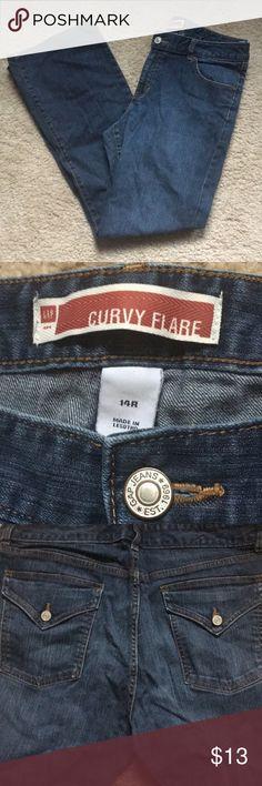 GAP curvy flare denim jeans size 14 regular EUC gap curvy flared leg jeans GAP Jeans Flare & Wide Leg