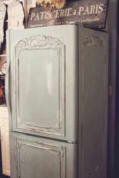 Trois Petites Filles refrigerator makeover seen on FRENCH COUNTRY COTTAGE -  AWESOME!