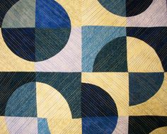 Modern Art Quilt Blue Yellow Blue Moon Handmade by atthebrightspot, $250.00