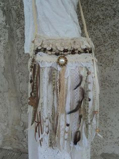 Handmade Boho Fringe Purse Hippie Gypsy Chic Cross Body Bag Lace Beaded tmyers  #Handmade #MessengerCrossBody