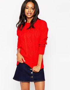 Glamorous Cable Knit Sweater with Elbow Patches