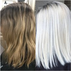 MAKEOVER: Cutting the Brass To a Nice Icy Blonde - Hair Color - Modern Salon Get the details for this makeover, from brassy and spotty to bright ice. Icy Hair, Ice Blonde Hair, Silver Blonde Hair, Icy Blonde, Balayage Hair Blonde, Platinum Blonde Hair, Blonde Color, Brown Balayage, White Blonde