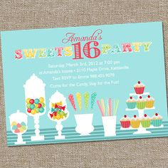 Sweets 16 Birthday Party Invitation by partymonkey on Etsy