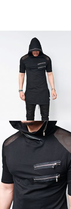 Tops :: Tees :: Mesh Shoulder Side Zip Long Hoodie-Tee 525 - Mens Fashion Clothing For An Attractive Guy Look