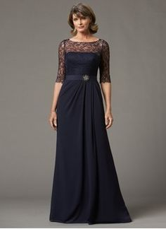 A-Line/Princess Scoop Neck Floor-Length Chiffon Mother of the Bride Dress With Lace Crystal Brooch