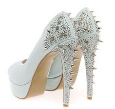 Boutique Kate Mint Stud & Diamante Platform Heels >> £45.00
