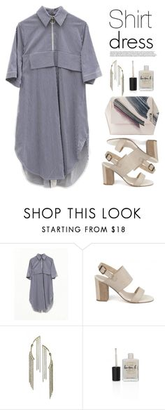 """""""Shirt dress wednesday!"""" by runway2street ❤ liked on Polyvore featuring Jamie Wei Huang, Lolo, Caterina Zangrando, Lauren B. Beauty and Onesixone"""