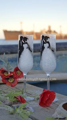 Items similar to Wedding Champagne Glasses, Hand Painted Glasses, Custom Toasting Flutes, Wedding Gift Idea on Etsy Bride And Groom Glasses, Wedding Wine Glasses, Wedding Champagne Flutes, Champagne Glasses, Bridesmaid Glasses, Butterfly Crafts, Painted Wine Glasses, Wine Bottle Crafts, Gifts For Wedding Party