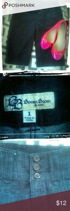Denim bermuda shorts Junior  shorts size 1.  Three button detail at high waist.  Really cute! Boom Boom Jeans Shorts Jean Shorts