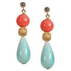 Für Sommerfeste: Ohrhänger mit Koralle und Amazonit in sommerlichen Farben von Perlotte Schmuck www.perlotte.de