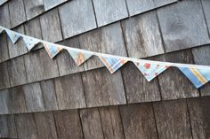Bunting Banner Fabric Flag Blue Tulips Plaid by BundledUpLove, $26.50