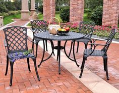 """Crosley Furniture KOD6004BK Sedona 42"""" Five Piece Cast Aluminum Outdoor Dining Set with High Back Arm Chairs in Black Finish"""