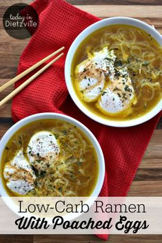 Low-Carb Ramen With Poached Eggs | It saddens me that the bricks of noodles with the flavor packets and this soup are actually known by the same name... Let me introduce you to something you may not have known existed: Real Food Ramen with bone broth, anti-inflammatory spices, and low-carb noodles! | TodayInDietzville.com