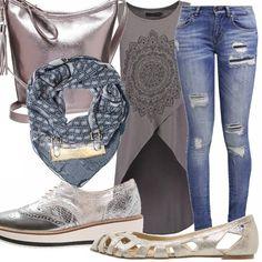 Un look decisamente casual e alla moda con contrasti di colori, dal grigio chiaro al blu scuro. Adatto per le passeggiate, pomeridiane, o serali! Sta a voi decidere!