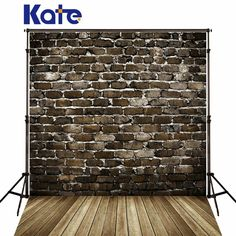 Kate Retro Brick Photography Backdrops Brown Wood Floor Gray Brick Wall For Children,Wedding Photo Studio Background