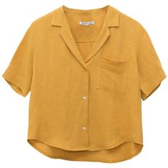 SIDE PARTY Philosopher Linen Shirt Mustard LISA SAYS GAH ❤ liked on Polyvore featuring tops, party shirts, button up shirts, button down shirts, brown top and going out shirts