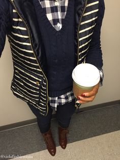 Outfit of the day 2/23/15  Women's fashion, Marshalls, Fab found, stripes, gingham, style, petite, fashion blogger, what I wore
