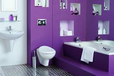 Bathroom In Purple And White With Cubbyholes Baden Favorite Color Things