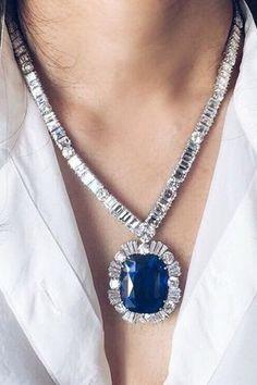 A spectacular 90 carat Ceylon sapphire necklace.