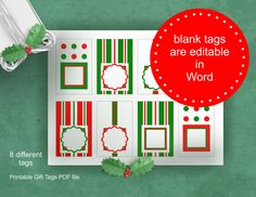 Holiday Gift Tag - Printable - Festive Red White Green - DIY Christmas Present Wrap - X-Mas Printables - Editable in Word - Download  8,5 x 11 in PNG file - Printable Christmas tags / gift tags / DIY gift wrapping or digital scrapbooking.  Printable digital product for X-Mas presents wrapping, advent calendar or holiday home decoration and ...  colors: festive red, white , green pattern: geometric, combination of stripes, dots and squares   ********************************* You wil...