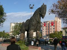 Copy of the Trojan Horse outside the Canak Hotel, Canakkale, Turkey