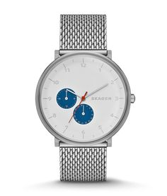 SKAGEN Gents Stainless Steel White & Blue Dial Watch