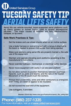 Risk assessment poster wall chart pinterest poster wall chart this weeks tuesday safety tip is about aerial lifts united services is dedicated making safety fandeluxe Image collections
