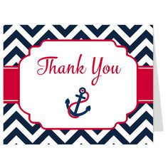 Thank guests for attending your boy baby shower with this nautical themed thank you card featuring a sailboat and an anchor framed by chevron stripes in navy and red.