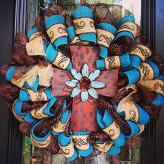 Turquoise Cross Wreath