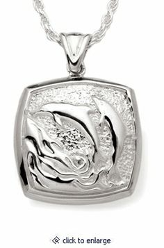 Dolphins Cushion Sterling Silver Cremation Jewelry Pendant Necklace
