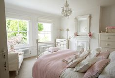 White and pink bedroom.