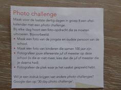 Leuk idee! foto uitdaging. De foto's kunnen zo in een eigen tijdschrift. Een afscheid groep 8 tijdschrift maak je samen met de klas op www.jilster.nl