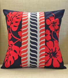 16 x 16 Pillow Cover - Vintage Red and Navy Patchwork - Tropical Nautical Gold Pillows, Throw Pillows, Cotton Canvas, Canvas Fabric, Pillow Inserts, Pillow Covers, Blue Canvas, Red White Blue, Nautical