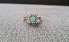 Mint Apatite and Diamond Engagement Ring Halo by PenelliBelle