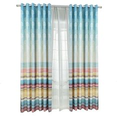 Funky Horizontal Striped Thermal Curtains for Patio Doors Patio Door Curtains, Diy Curtains, Patio Doors, Blackout Curtains, Blue Striped Curtains, Colorful Curtains, Thermal Curtains, Gift Finder, Window Treatments