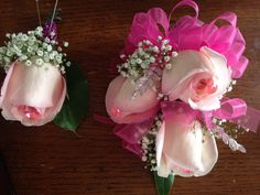 Pink roses Boutonniere n corsage set